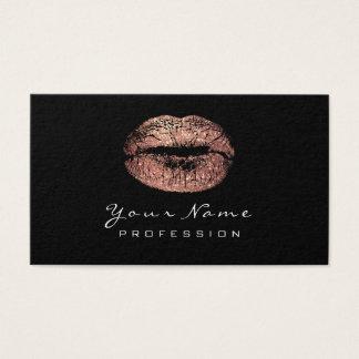 Cartão De Visitas Branco cor-de-rosa do preto do batom do ouro dos