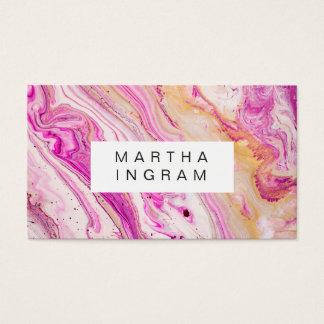Cartão De Visitas Branco cor-de-rosa fresco brilhante do ouro do