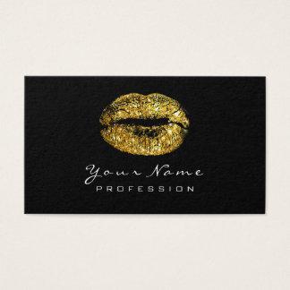 Cartão De Visitas Branco do preto do batom do ouro do falso dos