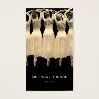 Cartão De Visitas Branco do preto do Sepia da escola de dança do