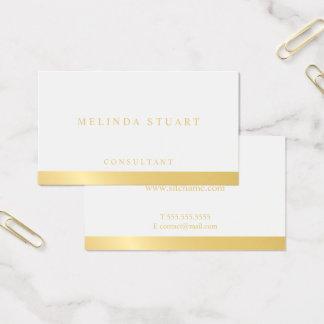 Cartão De Visitas Branco e geométrico elegante do ouro