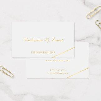 Cartão De Visitas Branco e ouro elegantes