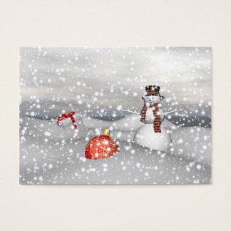 Cartão De Visitas branco e presente do boneco de neve