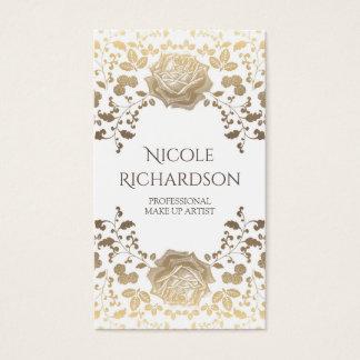 Cartão De Visitas Branco e vintage elegante da beleza da folha do
