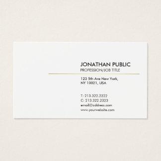 Cartão De Visitas Branco elegante e moderno liso de Minimalistic do