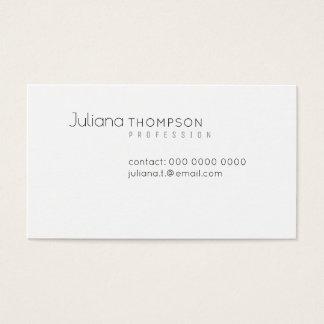Cartão De Visitas Branco elegante minimalista do prof.