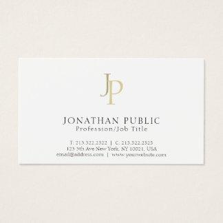 Cartão De Visitas Branco elegante moderno do monograma profissional