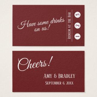 Cartão De Visitas Branco em bilhetes modernos vermelhos da bebida