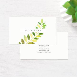 Cartão De Visitas Branco esmeralda verde botânico da samambaia do