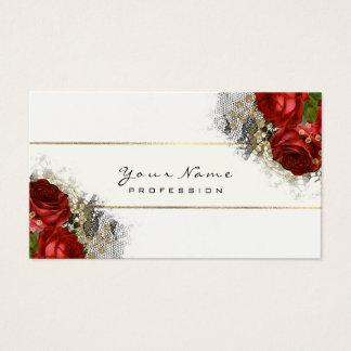 Cartão De Visitas Branco floral do verde das rosas vermelhas do