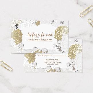 Cartão De Visitas Branco Glam botânico floral moderno & ouro do