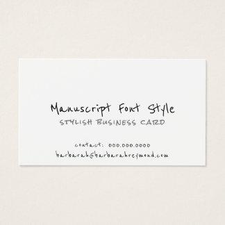 Cartão De Visitas branco informal do pia-estilo legal do manuscrito