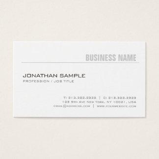 Cartão De Visitas Branco liso à moda simples na moda do design