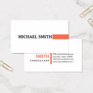 Cartão De Visitas Branco liso moderno do tomate elegante