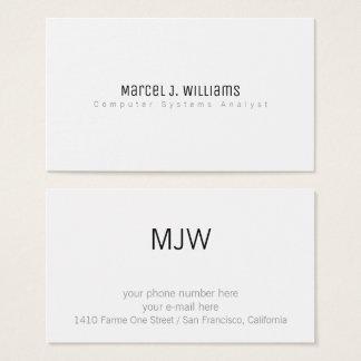 Cartão De Visitas branco liso profissional moderno minimalista