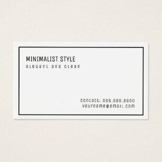 Cartão De Visitas branco minimalista elegante e limpo do estilo