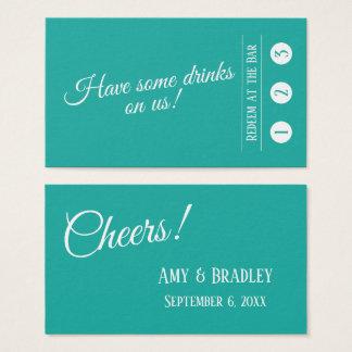 Cartão De Visitas Branco na turquesa, bilhetes modernos da bebida