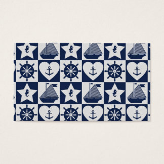 Cartão De Visitas Branco náutico dos azuis marinhos checkered
