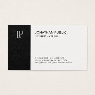 Cartão De Visitas Branco preto chique do monograma liso elegante