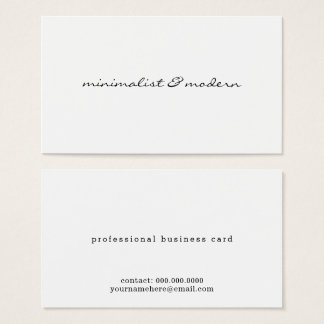 Cartão De Visitas branco profissional moderno do roteiro minimalista