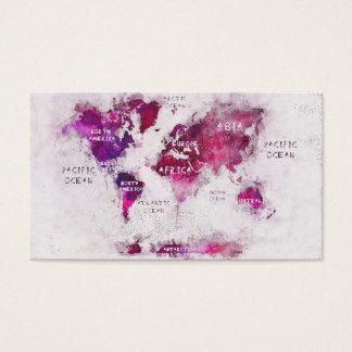 Cartão De Visitas branco roxo do mapa do mundo