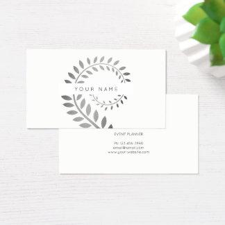 Cartão De Visitas Branco serpentino de prata botânico da samambaia