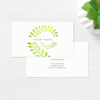 Cartão De Visitas Branco serpentino verde botânico da samambaia do