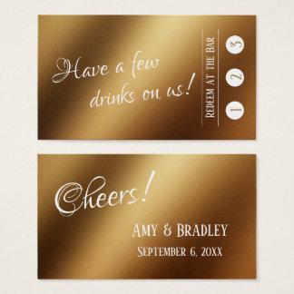Cartão De Visitas Branco sobre o ouro do falso, 3 bilhetes da bebida