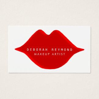 Cartão De Visitas branco vermelho feminino gráfico agradável da