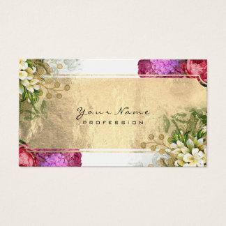 Cartão De Visitas Branco vermelho floral do ouro verde do rosa da