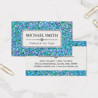 Cartão De Visitas Brilho #5 multicolorido do grão do penteado da