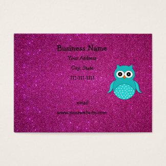 Cartão De Visitas Brilho bonito do rosa da coruja de turquesa