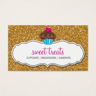 Cartão De Visitas Brilho bonito DOCE MODERNO do ouro do rosa do