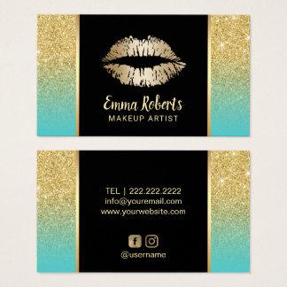 Cartão De Visitas Brilho do ouro de turquesa dos lábios do ouro do