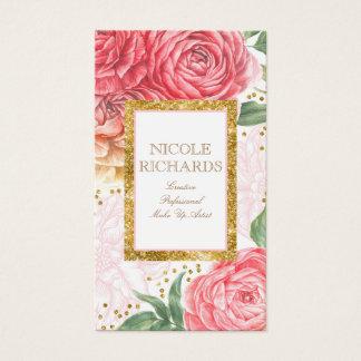 Cartão De Visitas Brilho do ouro e vintage cor-de-rosa das flores da