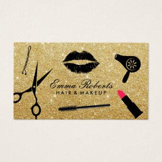 Cartão De Visitas Brilho moderno do ouro do maquilhador & do