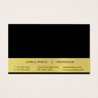 Cartão De Visitas Brilho preto profissional simples moderno do ouro