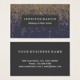 Cartão De Visitas Brilho Sparkly Ombre do ouro dos azuis marinhos