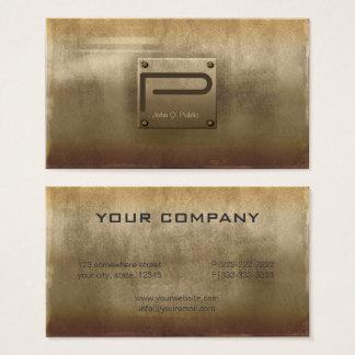 Cartão De Visitas Bronze áspero ID327 da placa de metal