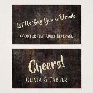 Cartão De Visitas Brown escuro afligiu bilhetes rústicos da bebida