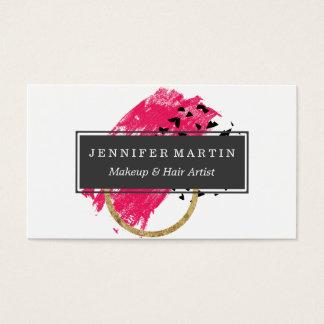 Cartão De Visitas Brushstrokes pretos abstratos do ouro do rosa e do