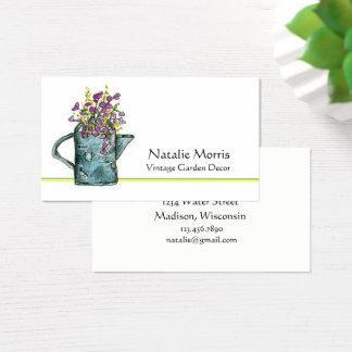 Cartão De Visitas Buquê da flor da lata molhando do jardim