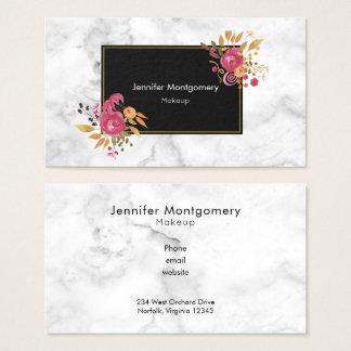 Cartão De Visitas Buquês de canto florais cor-de-rosa no quadro