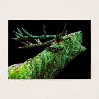Cartão De Visitas Cabeça da rena do veado - verde, parte traseira