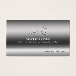 Cartão De Visitas Cabeças de fala, conselheiro, metálico-efeito
