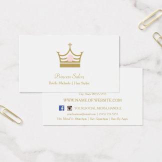 Cartão De Visitas Cabeleireiro chique da princesa Coroa Cor-de-rosa