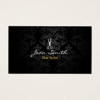 Cartão De Visitas Cabeleireiro escuro à moda do damasco