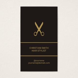 Cartão De Visitas Cabeleireiro escuro elegante moderno do ouro do