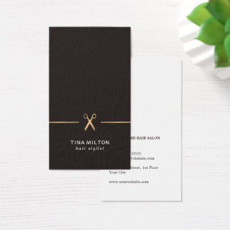 Cartão De Visitas Cabeleireiro limpo minimalista do preto do ouro do