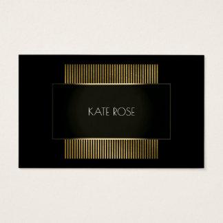 Cartão De Visitas Cabeleireiro preto conceptual mínimo do ouro